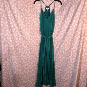 Teal green pleated dress